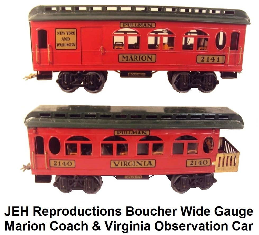 JEH Reproductions Boucher Wide Gauge Marion and Virginia Passenger coaches