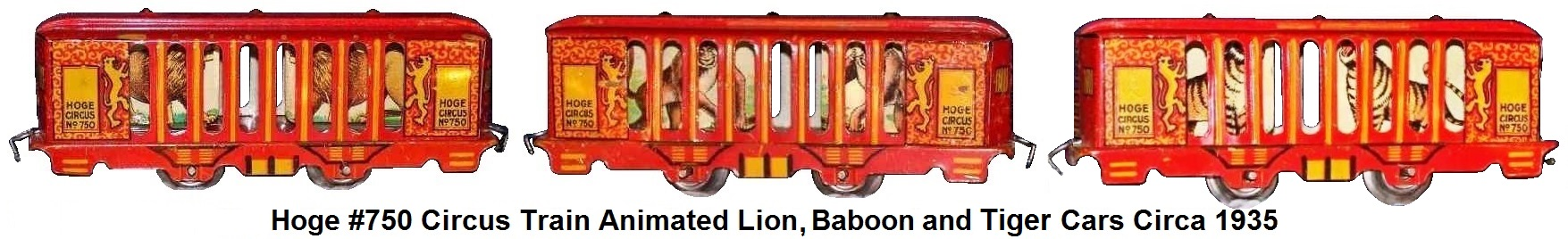 Hoge Animated Lion and Baboon cars from #750 circus train in 'O' gauge circa 1935