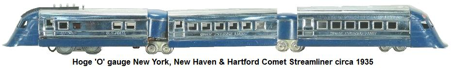 Hoge New York, New Haven & Hartford Comet streamliner in 'O' gauge circa 1935