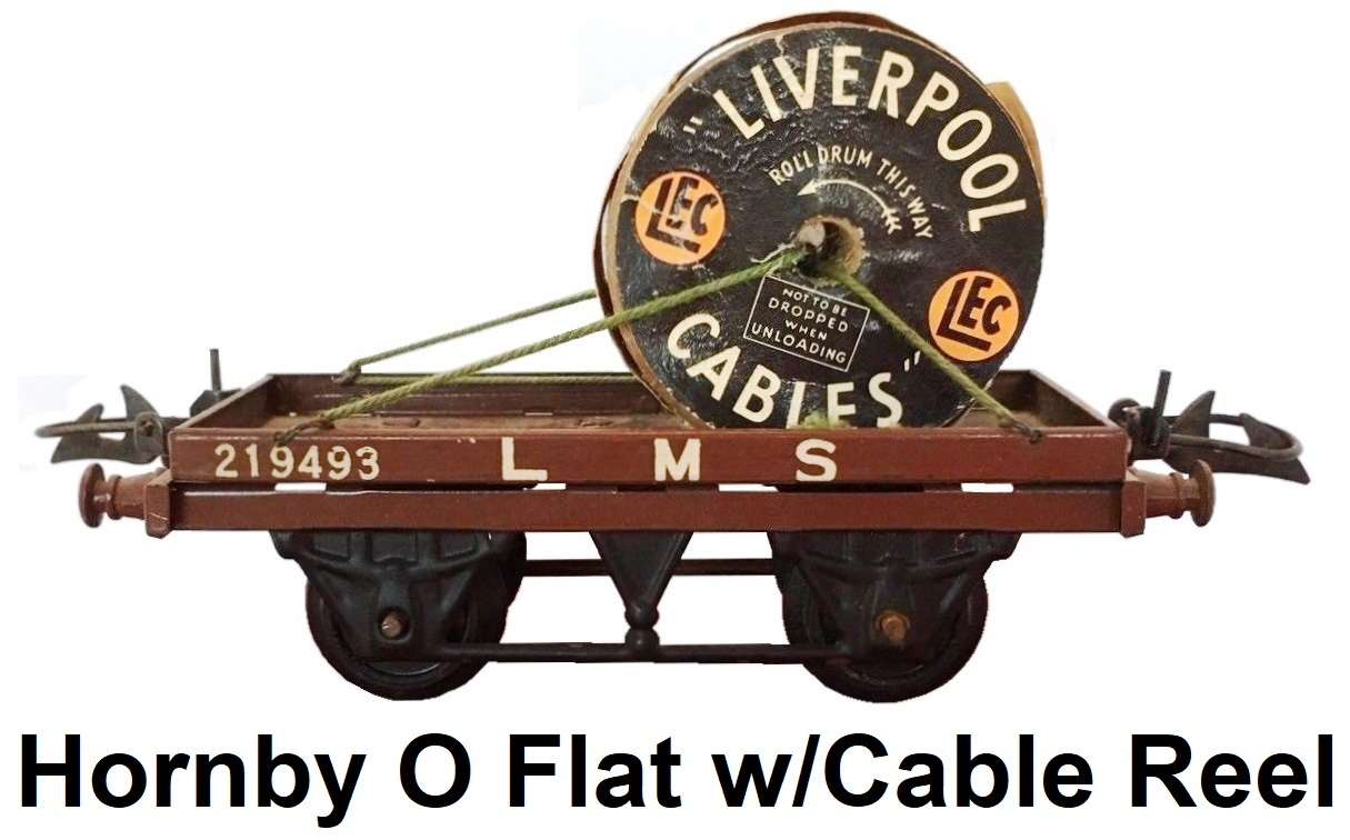 Hornby O gauge Meccano Tin Litho Flat Truck w/Cable Drum