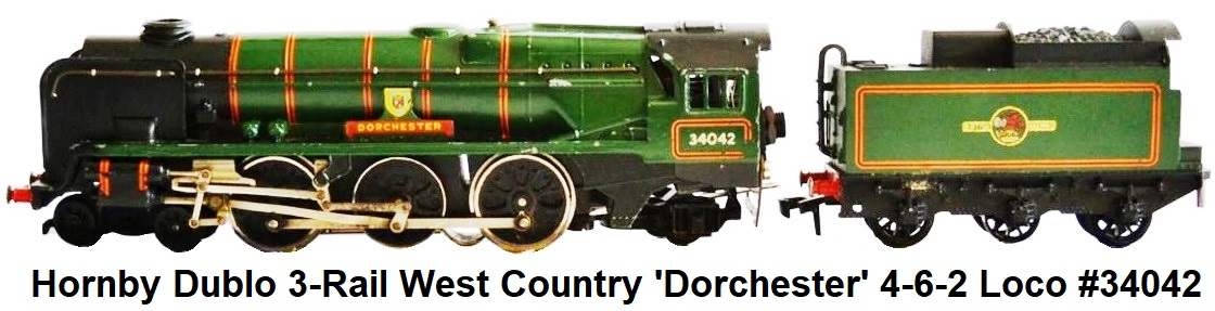 Hornby Dublo 3-Rail West Country 'Dorchester' Locomotive and Tender #34042