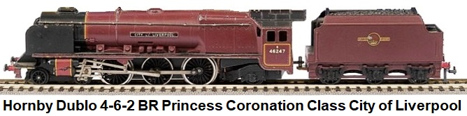 Hornby Dublo 3226 4-6-2 BR maroon Princess Coronation Class Locomotive and Tender #46247 City of Liverpool