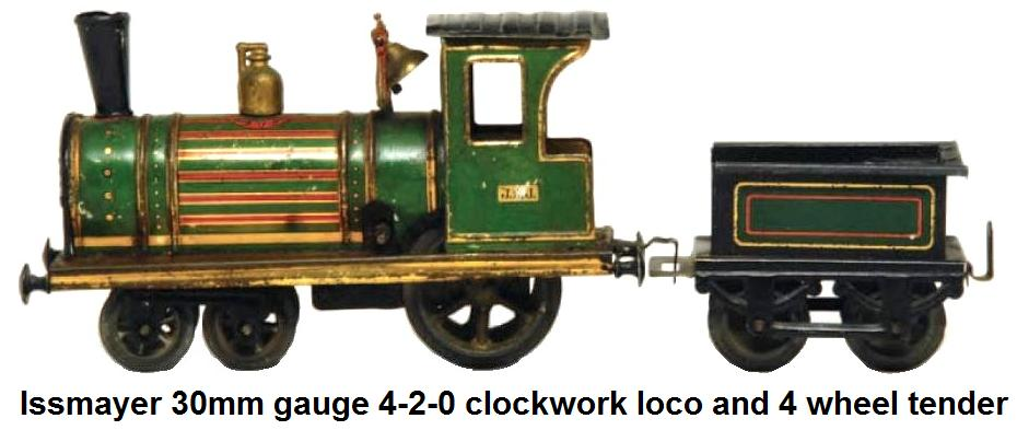 Issmayer 30mm gauge clockwork 4-2-0 tinplate loco and 4 wheel tender