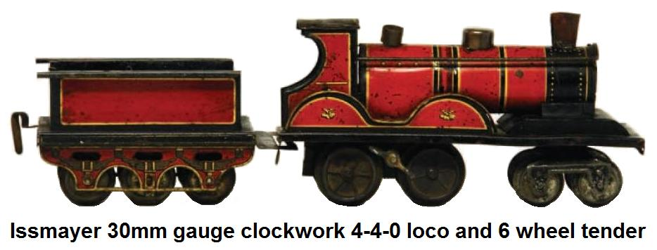 Issmayer 4-4-0 clockwork tinplate loco and 6 wheel tender in '30mm' gauge