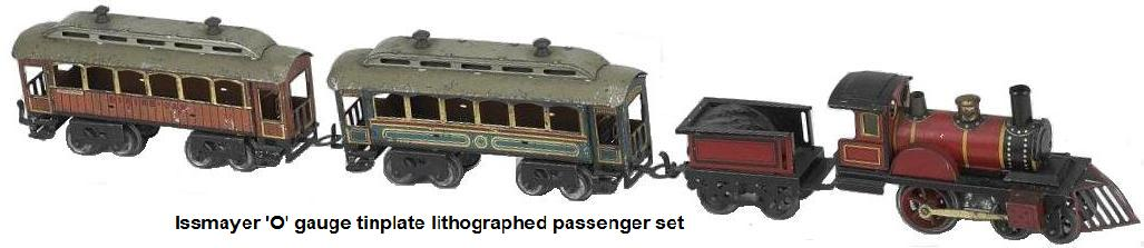 Issmayer 'O' gauge passenger set lithographed and painted tin, American steam outline 4-2-0 engine and tender with 2 lithographed tin coaches with gold trim