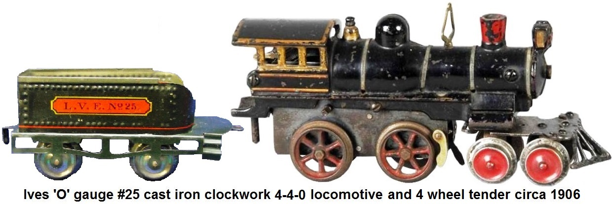 Ives #25 cast iron 'O' gauge clockwork locomotive and tender circa 1906