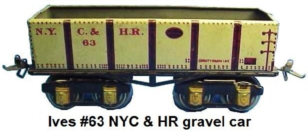 Ives 'O' gauge #63 NYC & HR tinplate lithographed gravel car