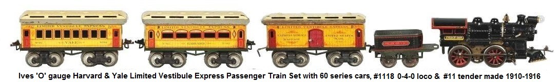 Ives Harvard & Yale Passenger Train Set with 60 series cars made 1910-1916
