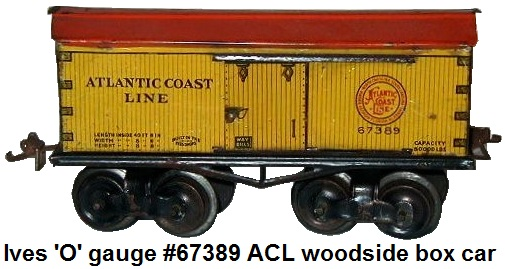 Ives 'O' gauge #67389 Atlantic coast Line Eight Wheeled Wood Sided Boxcar with Sliding Doors circa 1915