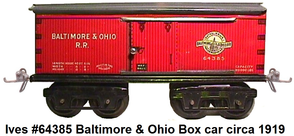 Ives 64 series #64385 Baltimore & Ohio 8 wheel Merchandise car circa 1919
