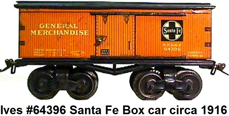 Ives #64 series 'O' gauge Santa Fe box car 1916 version