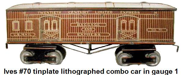 Ives #70 Lithographed Tinplate Combo car in 1 gauge