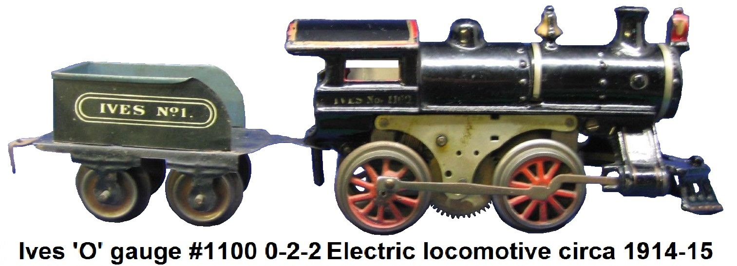 Ives #1100 0-2-2 cast iron electric locomotive in 'O' gauge circa 1914-15