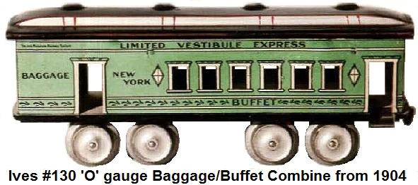 Ives Limited vestibule Express #130 Buffet car in 'O' gauge circa 1904