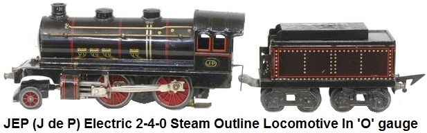 JEP 'O' gauge 2-4-0 Steam Outline Loco & Tender 3 Rail Electric
