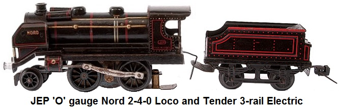 JEP (France) 'O' gauge 2-4-0 Loco and Tender Nord black 3-rail Electric