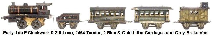 JEP J de P, small train with mechanical locomotive 020 black #464, two blue and gold carriages lithographed and a gray van