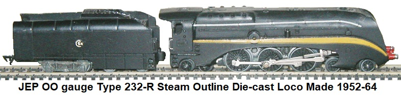 JEP HO gauge Type 232-R Steam Outline Die-cast Loco and Tender Made 1952-64