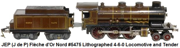 J de P locomotive dite petite Fl�che d'Or type 230, lithographi�e marron et or, r�f. 5475 et son tender Nord