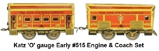Henry Katz & Co. 'O' gauge early Five-Fifteen 2 - car set with #515 Engine and coach circa 1928