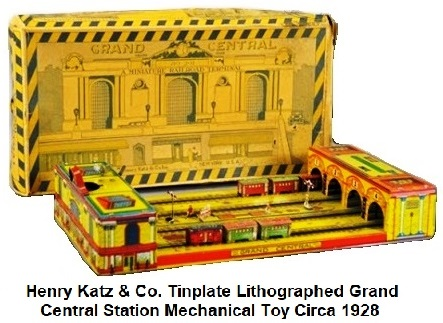 Henry Katz & Co. Tinplate Lithographed Grand Central Station Clockwork Toy Circa 1928