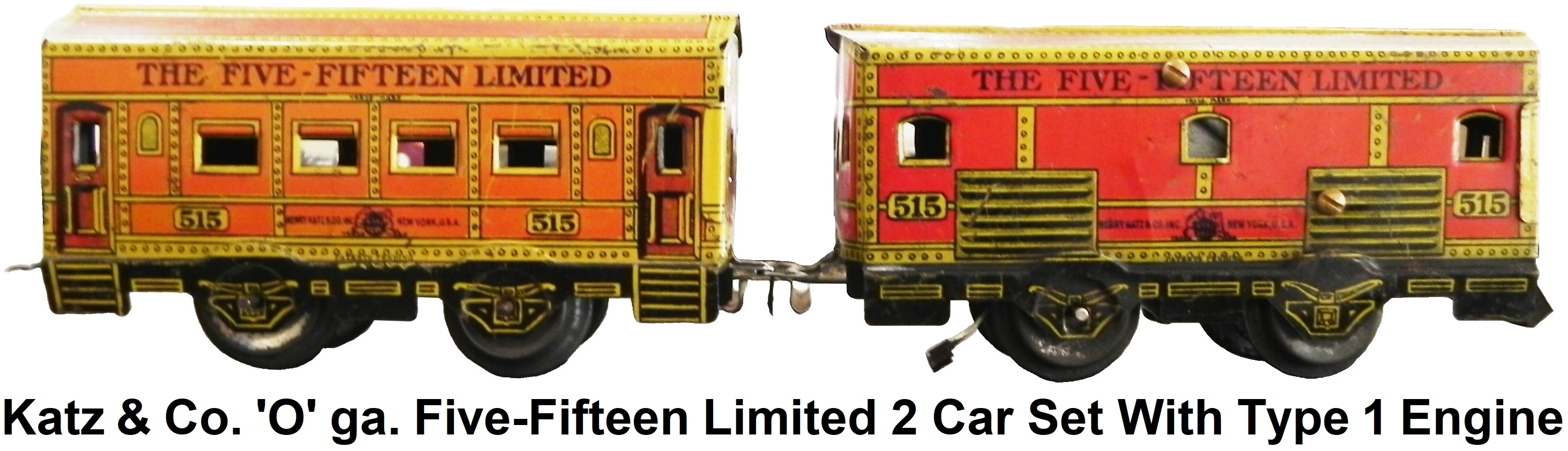 Henry Katz & Co. 'O' gauge Five-Fifteen Limited 2 car set with Type 1 engine circa 1928