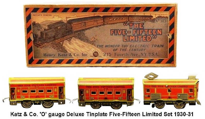 Henry Katz & Co. 'O' gauge Tinplate Lithographed Deluxe Five-Fifteen Limited Set circa 1930-31
