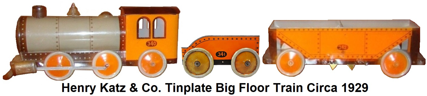 Henry Katz & Co. Tinplate Lithographed Big Floor Train circa 1929
