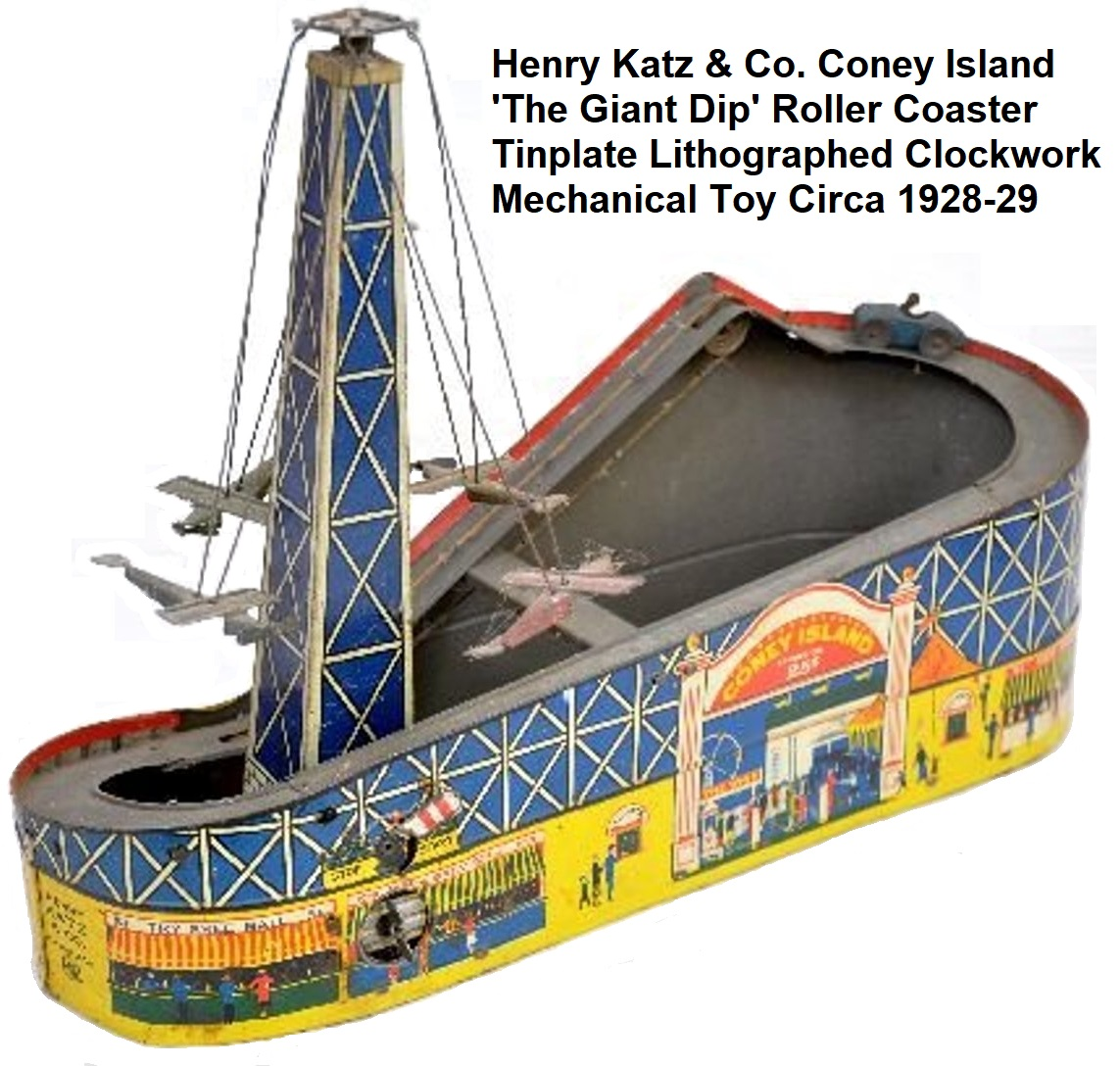 Henry Katz & Co. Tinplate Lithographed 'The Giant Dip' Coney Island Roller Coaster Toy circa 1928-29