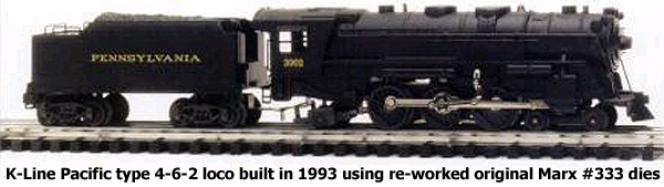 K-Line Pacific type 4-6-2 loco built in 1993 using re-worked original Marx #333 dies
