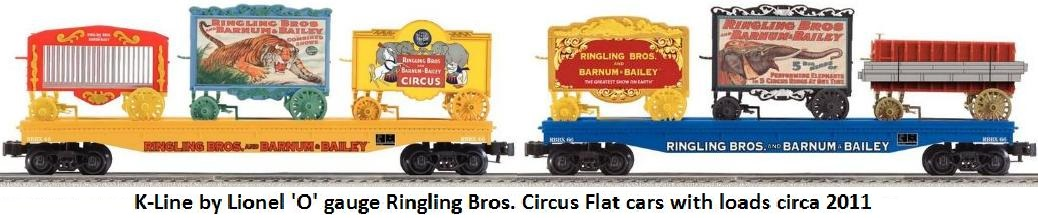K-Line by Lionel 'O' gauge Ringling Bros. Barnum & Bailey circus train flat cars with loads