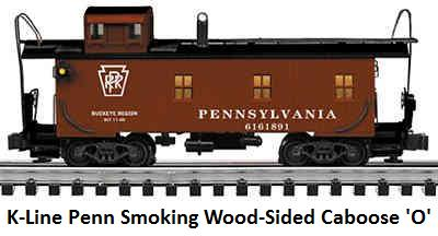 K-line 'O' gauge Pennsylvania Smoking Wood-Sided Caboose circa 2002