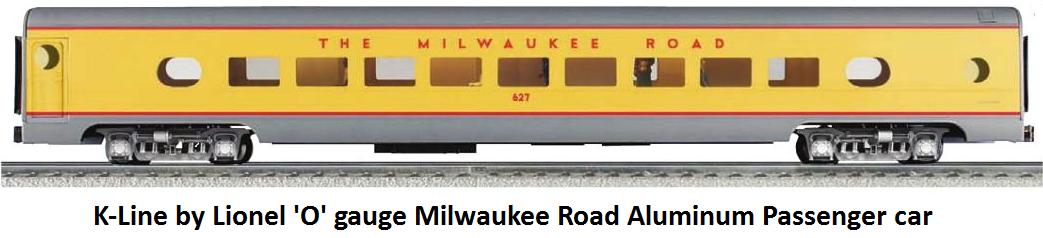 K-Line by Lionel Milwaukee Road aluminum passenger car in 'O' gauge
