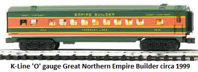 K-Line Great Northern Empire Builder passenger car circa 1999 in 'O' gauge