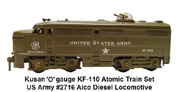 Kusan '0' gauge US Army #2716 diesel locomotive with a machine gun turret from the KF-110 Atomic Train set