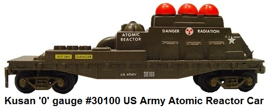 Kusan '0' gauge #30100 US Army reactor car with red flashing lights from the KF-110 Atomic Train Set