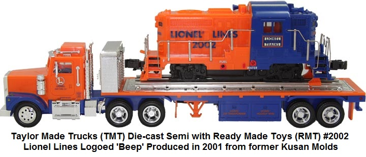 TMT die-cast semi truck with RMT Lionel logoed Beep Engine in 'O' gauge made from original Kusan molds