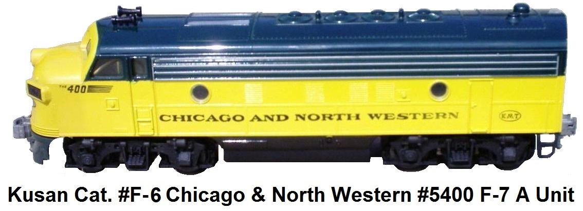 Kusan-Auburn 'O' gauge catalog #F-6 #5400 Duo-Trac equipped F-7 Powered A unit in Chicago & North Western livery