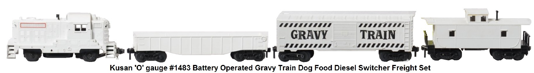 Kusan 'O' gauge #1483 battery operated Gravy Train diesel switcher freight set