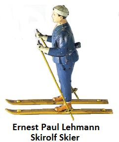 Lehmann Skirolf skier tinplate windup toy