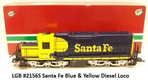 LGB #2156S Santa Fe Blue & Yellow Diesel Locomotive