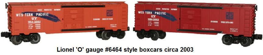 Lionel 'O' gauge 6464 style box cars made in 2003 by Western Division for the TCA National Convention