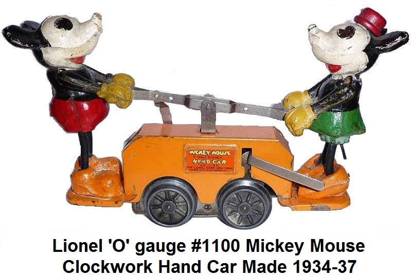 Lionel 'O-27' gauge #1100 Mickey & Minnie Mouse clockwork handcar from 1934