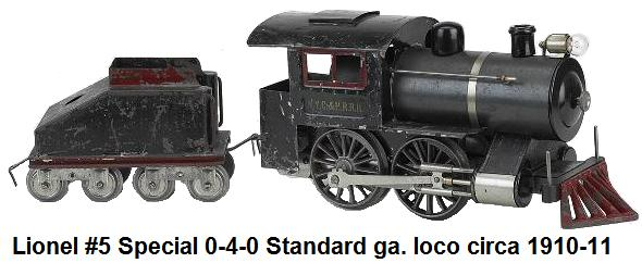 Lionel #5 Special Locomotive & Tender painted tin American steam outline 0-4-0 made 1910