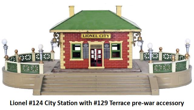 Lionel #124 City Station with #129 Terrace prewar accessory