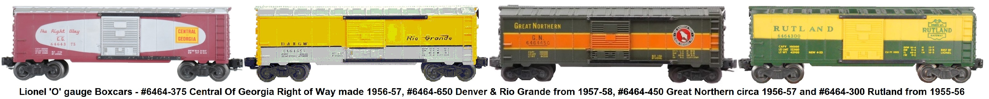 Lionel 6464 series box cars from the post-war era.