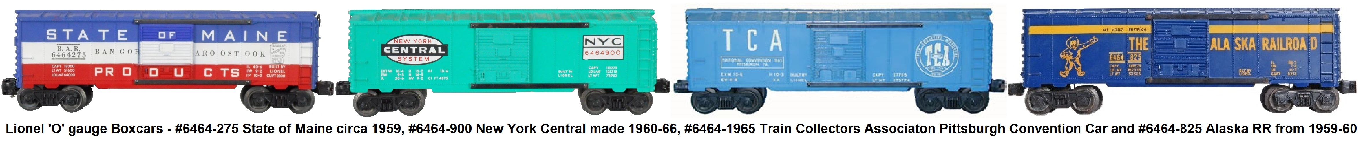 Lionel #6464 series box cars from the post-war era.
