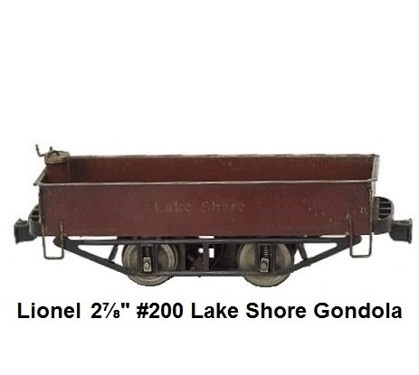 Lionel 2⅞ inch gauge Motorized #200 Lake Shore Gondola & Trailer