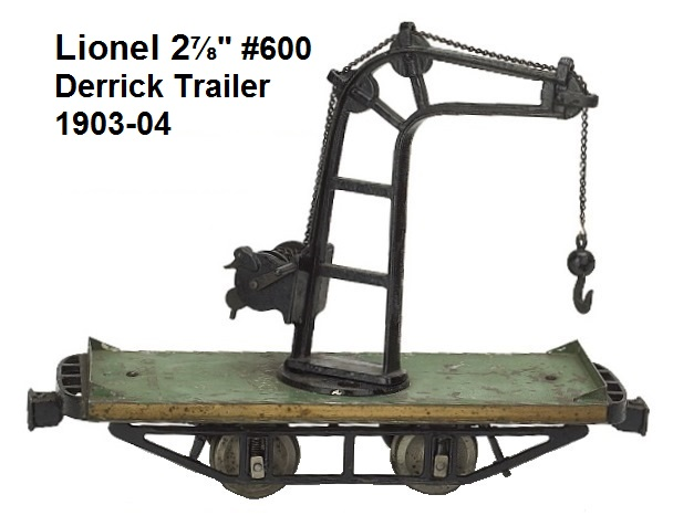 Lionel 2⅞ inch gauge trailer Crane Car has cast iron frame with tin platform with hand crank and ratchet brake