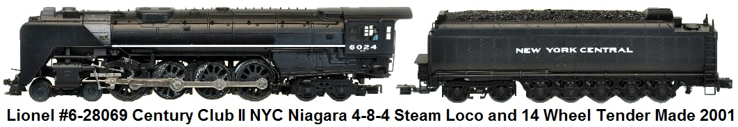 Lionel 'O72' gauge #6-28069 NYC Century Club II NYC Niagara 4-8-4 Steam Locomotive and 14 Wheel Tender issued in 2001
